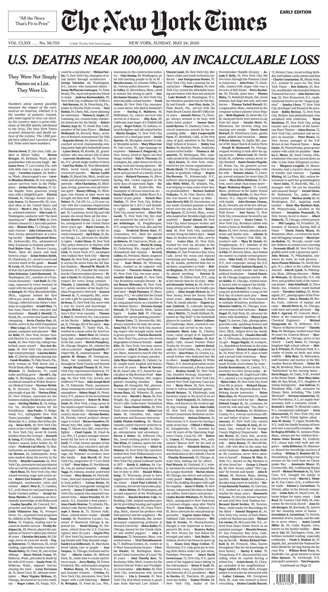 《纽约时报》提前公布24日头版:美国接近10万人死亡 无法计算的损失
