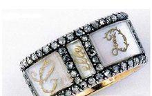 珍珠母玫瑰钻黄金戒指