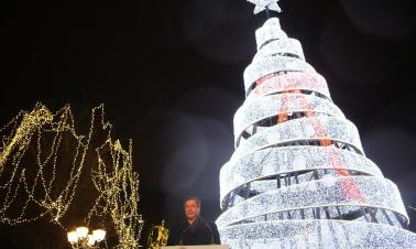 Lighting ceremony of Christmas Tree held at Syntagma Square in Athens