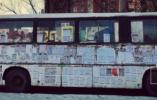 吉林最牛僵尸大客车 密密麻麻贴满野广告 化身广告栏