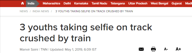 惨!印度3青年在火车铁轨上自拍,遭火车碾压身亡
